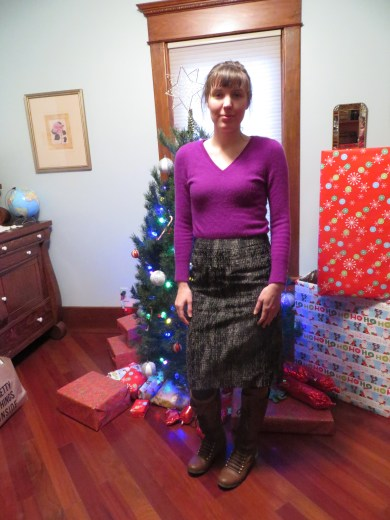 Christmas program outfit - Super classy where with just a touch of sparkle. See closer up skirt picture to see what I mean.