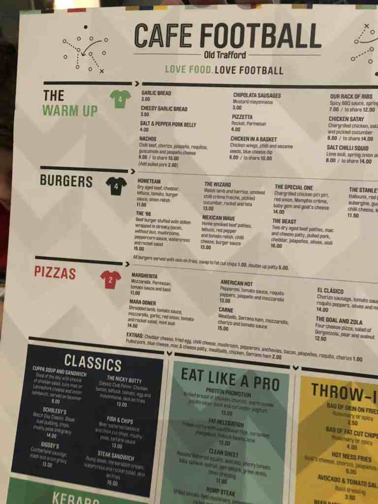 Cafe Football Menu