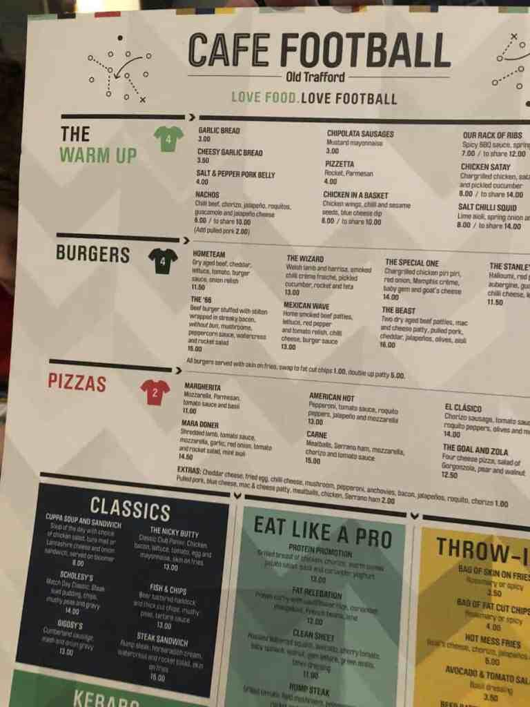 Cafe Football Menu