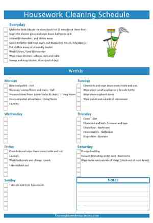 Housework Cleaning Schedule to simplify your life