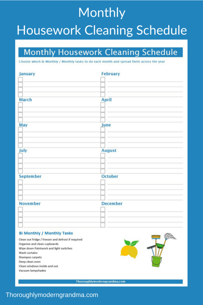 housework cleaning schedule