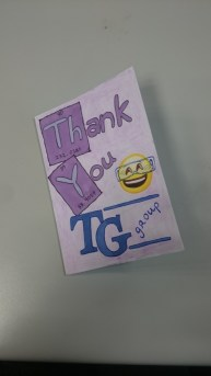 Homemade thank you card from Aisling