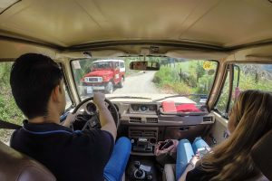Inside of a Jeep driving in Colombia