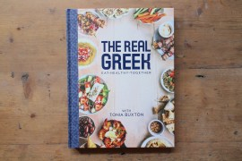 the-real-greek-cookbook-cook-book-recipes-wooden-surface-table-tonia-buxton-celebrity-chef-traditional-greek-cooking