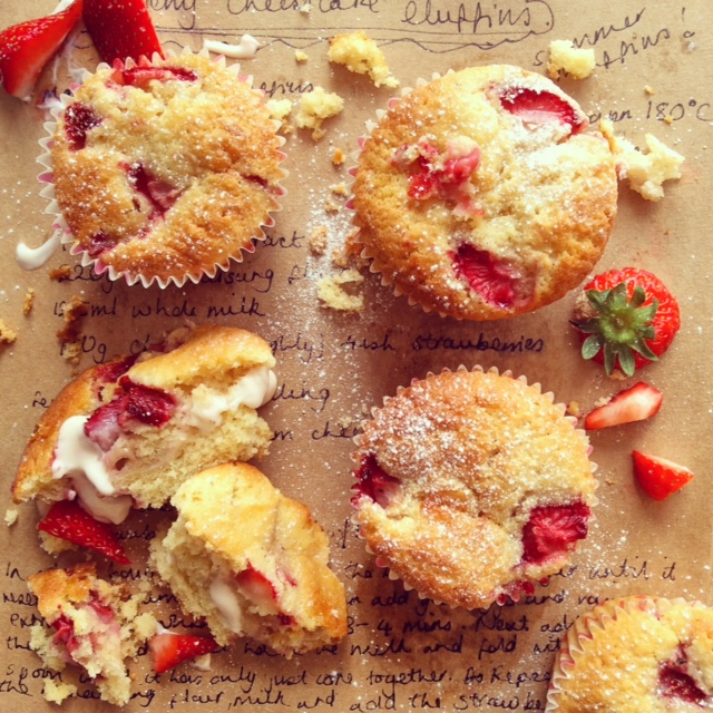 Baking-bright-strawberry-cream-cheese-muffin-recipe