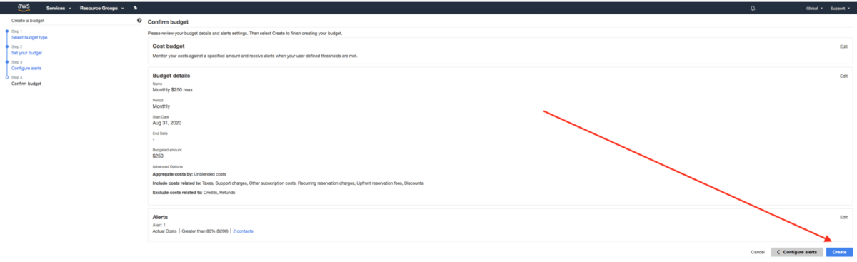 An arrow pointing to the create AWS setting budgets button.