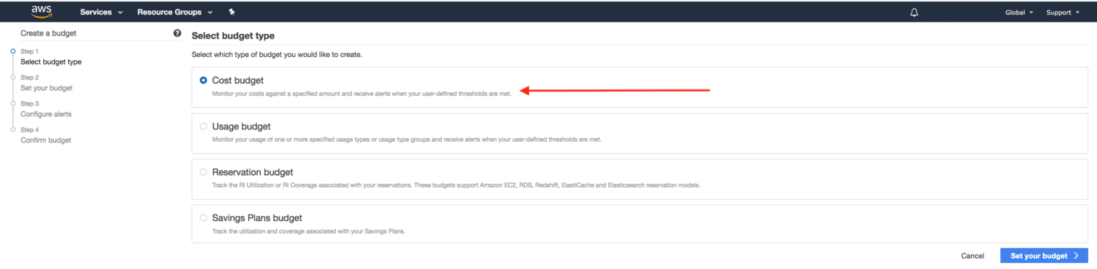 AWS Create a budget, select budget type, cost budget