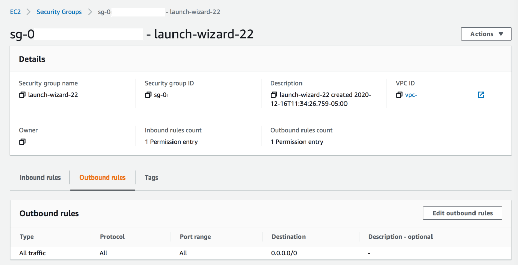 An example of the security group: launch wizard outbound rules configuration, which allows for all outgoing traffic to all destinations.