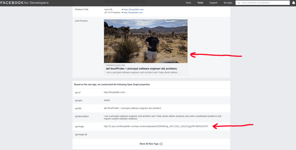 A preview of the Facebook for Developers Sharing Debugger After Debug with red pointers