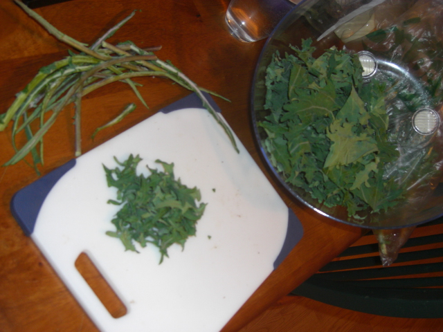 kale leaves, kale bits, and kale stems