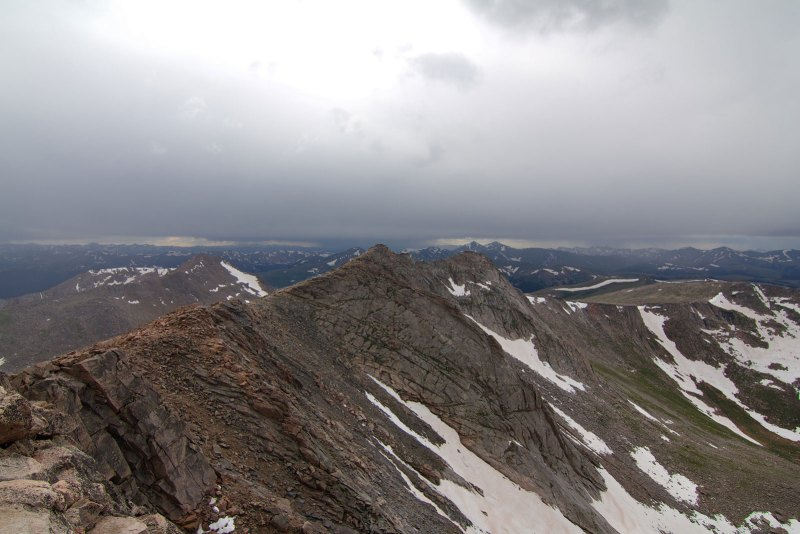 View from the summit looking toward the Continental Divide. Grays and Torreys Peaks visible straight ahead