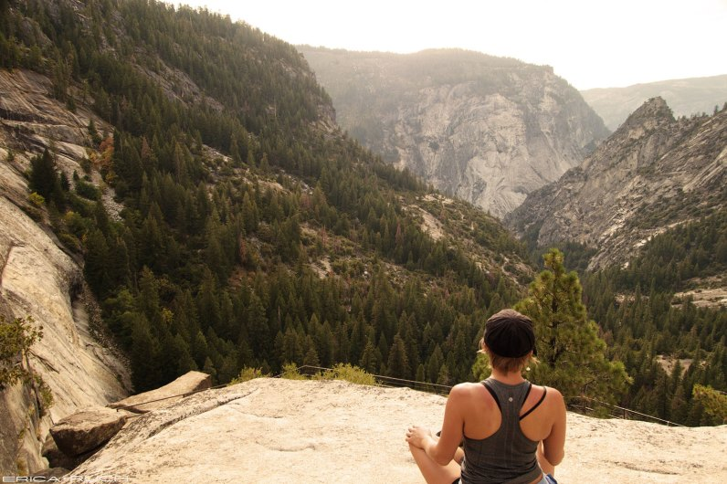 Top of Nevada Falls looking over the valley