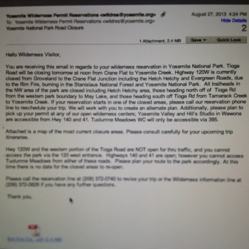 Tioga Pass Road closure notification sent from Yosemite NPS