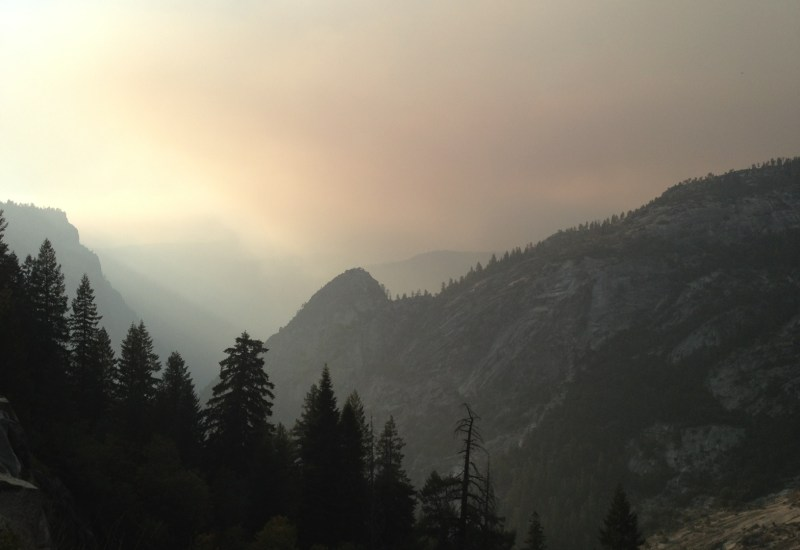 Smoke pouring into the valley