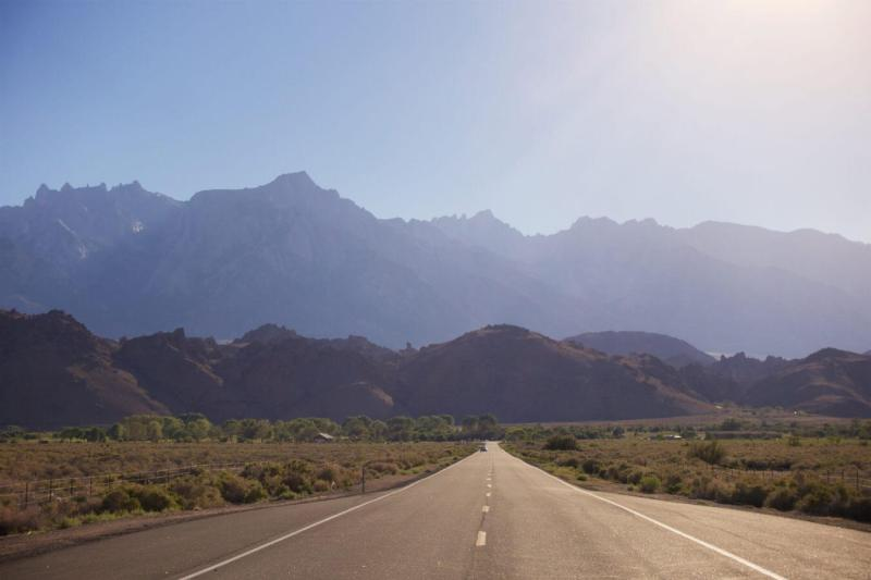 The Eastern Sierra and Mt. Whitney looming as I drive into Lone Pine