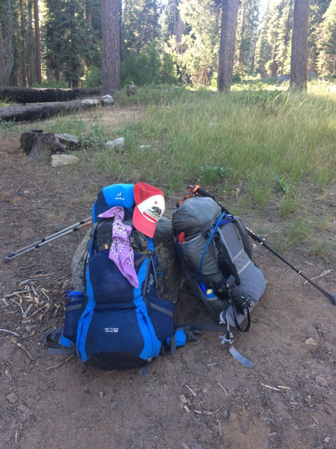 Our packs ready to go. Yes, I lug my DSLR with me when I backpack!