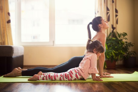 Mom and Kid yoga.