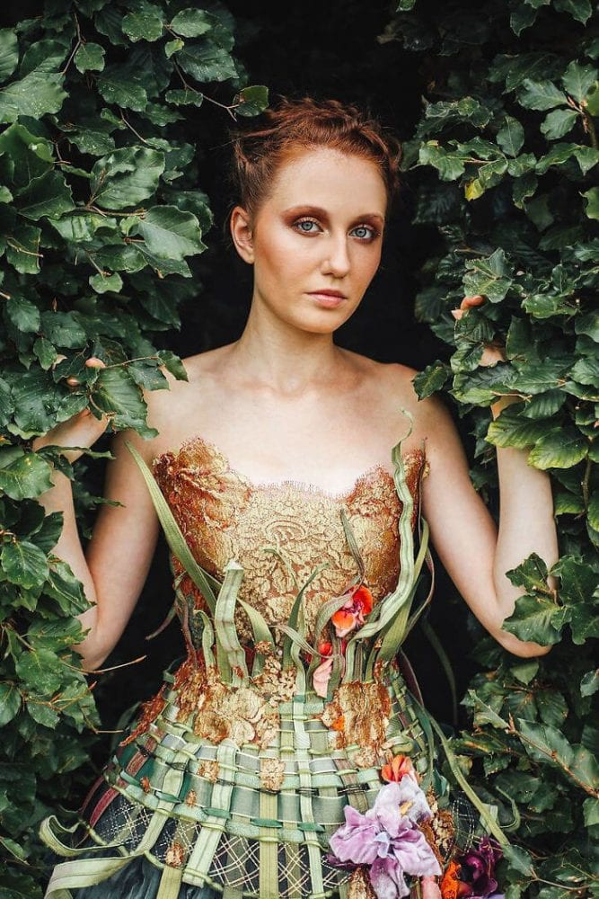 this designer uses spines of books to create extraordinary art-inspired dresses