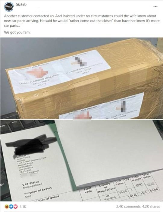 husband asks company to hide car parts from wife so they put them in sex toy packaging