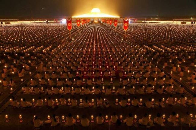 1 million school children meditate for world peace at a massive gathering in thailand