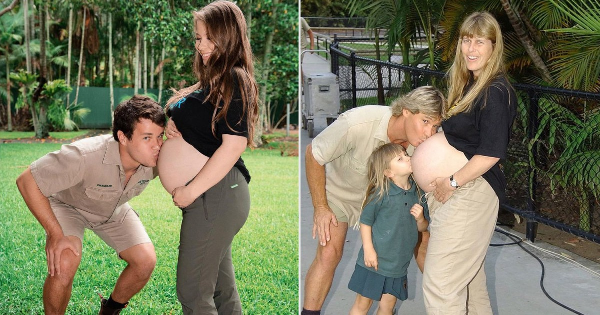 bindi irwin recreates her parents special pregnancy moment with her baby bump