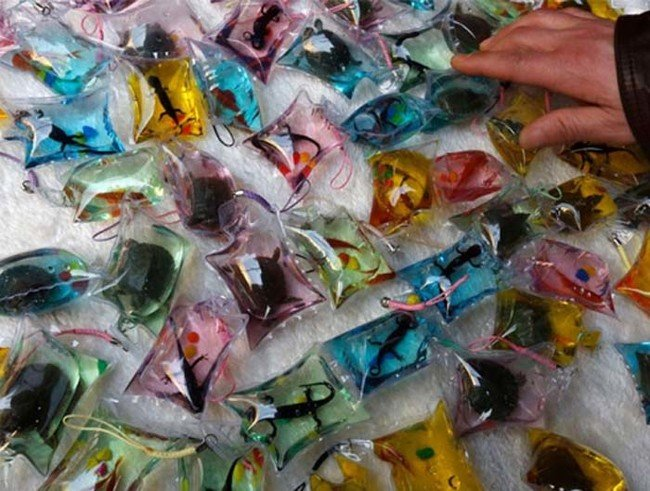 animals trapped alive in keychains sold for $1.50 in china