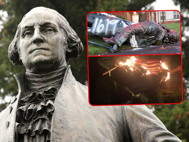 george washington statue torn down and draped in burning us flag