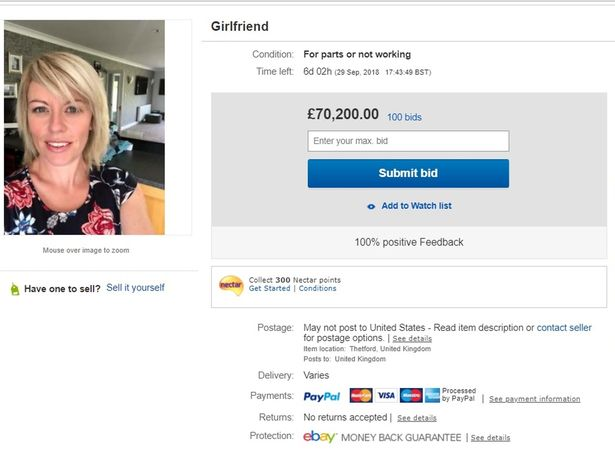 guy puts girlfriend up for sale on ebay and her price reaches £70,000
