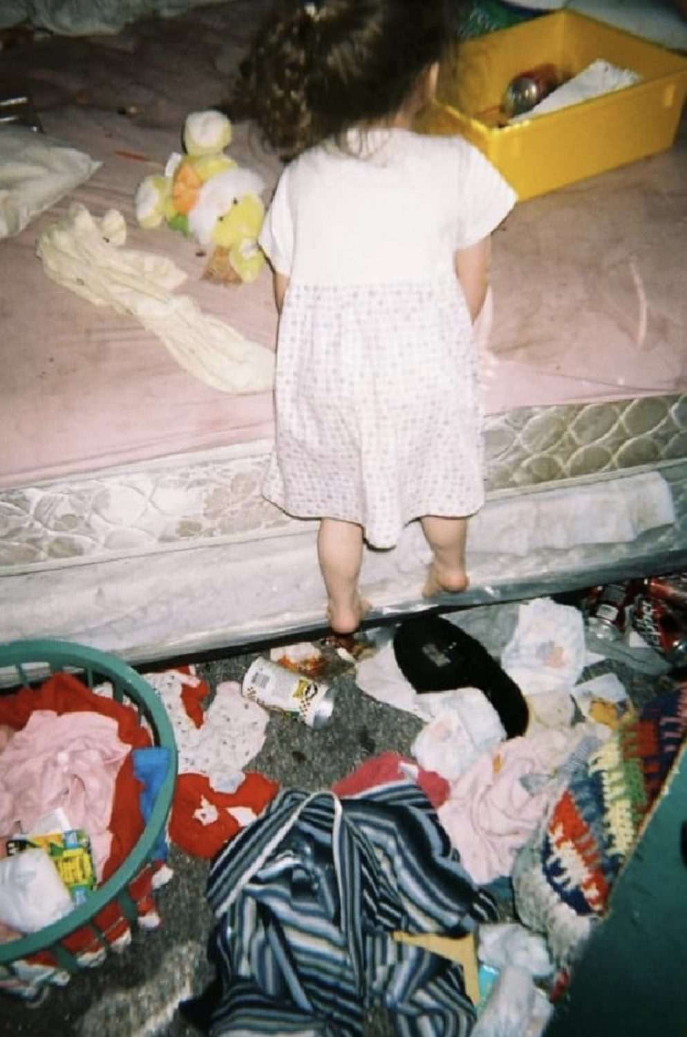 girls shocking childhood photos show the reality of being raised by a drug-addicted mother.