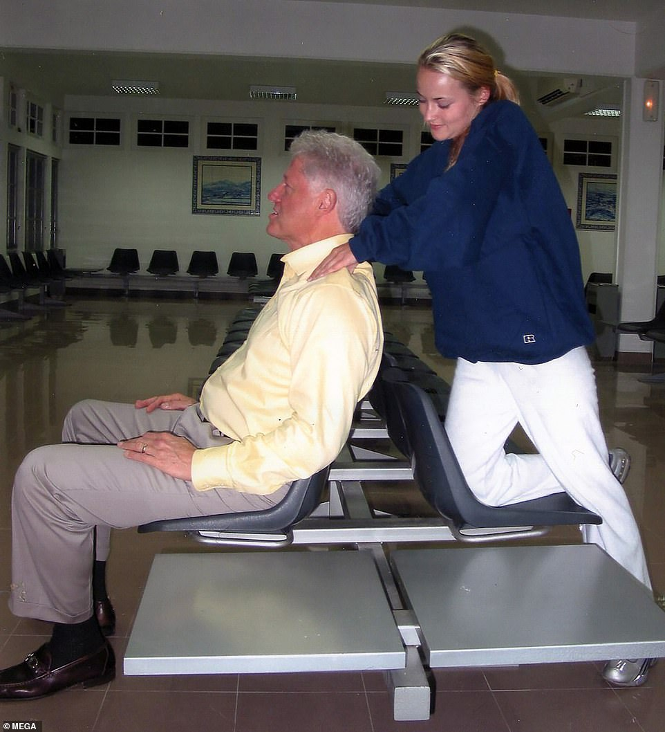 never-before-seen photos show bill clinton getting massage from epstein's victim