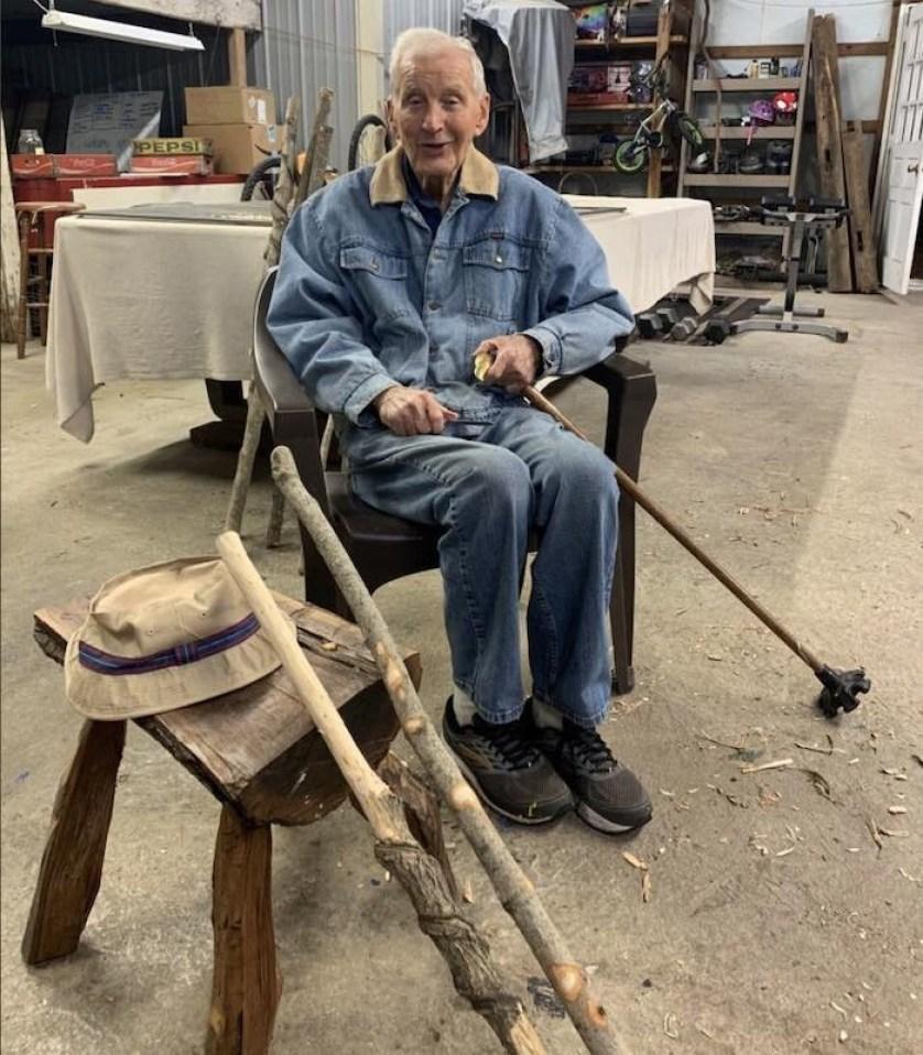 93-year-old veteran whittling walking sticks has raised $17,000 for food pantry