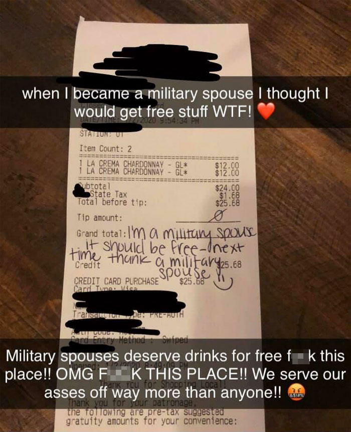 entitled military wife allegedly loses it when restaurant makes her pay for the wine she ordered