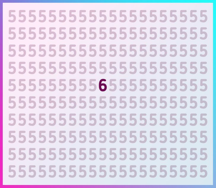 test: find the different number or letter in less than 5 seconds