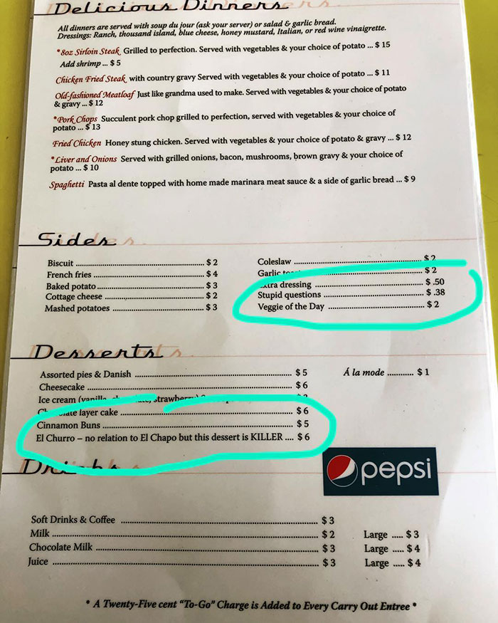this diner has 'stupid question' on their menu and charges 38 cents for it