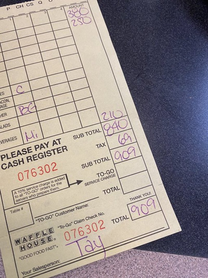 man collects waffle house receipts to prove they never charge him the same price