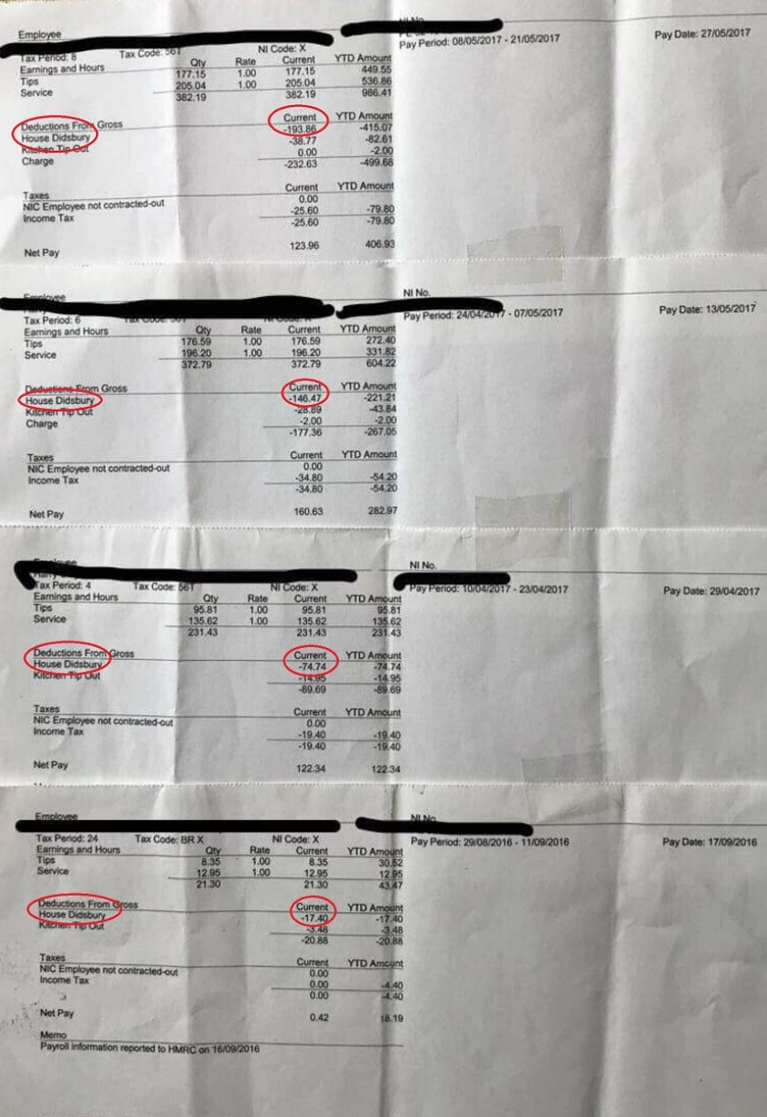 waitress posts her payslips online to prove her former boss was taking her tips