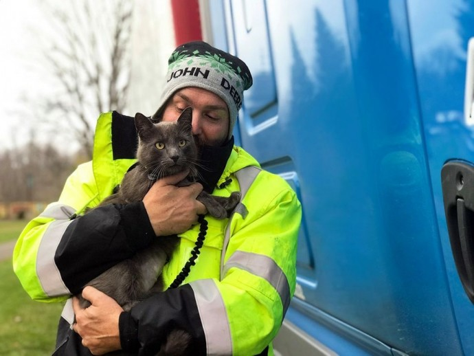 truck driver breaks down in tears after meeting his lost travel buddy-cat after 5 months of searching