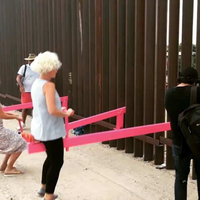 us-mexico border: pink seesaw art installation wins 2020 'design of the year'