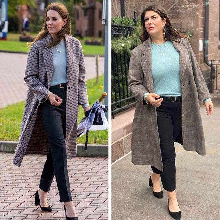 girl proves that you don't need a personal stylist to create a cool look by copying celebrities' outfits