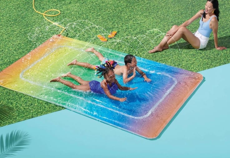 target is selling a $30 rainbow water blobz that is perfect for lounging in the sun