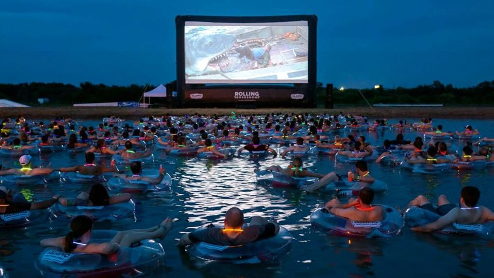 watch jaws while night swimming in open water this summer
