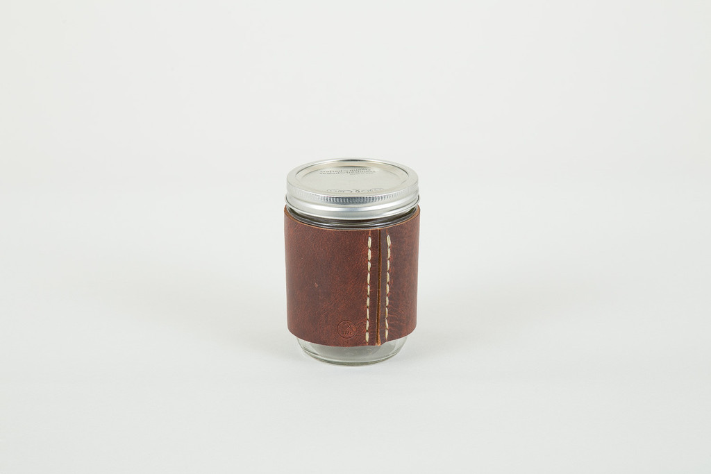 Glass & leather travel tumbler