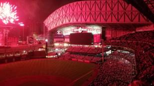 Fireworks turning the stadium pink