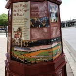 A pole honoring the first World Series game played in Texas