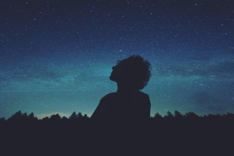 Thinking looking at stars