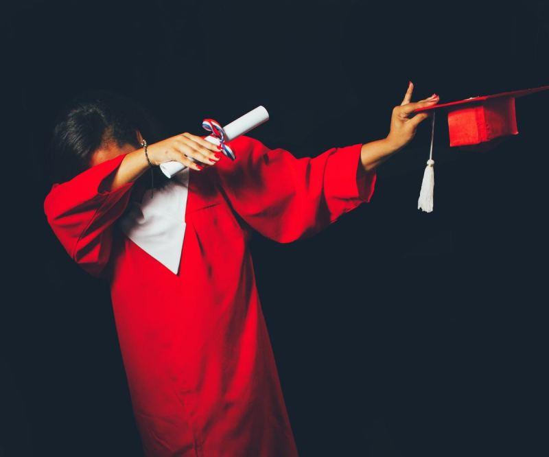 Graduating student 'dabbing'