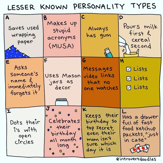 Lesser Known Personality Types