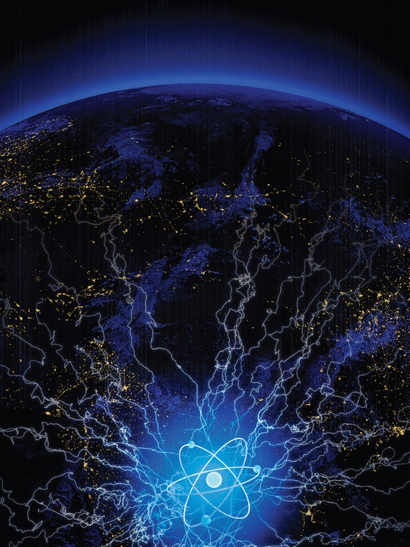 Globe linked to ball of energy
