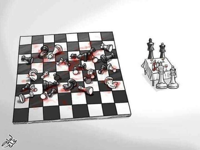 To the left, a chessboard strewn with bloodied, dead chesspieces. To the right, a small table is set for dinner with wine: the king and queen pieces of both sides of the chessboard stand at the table together, ready to enjoy a meal. (via Cathal Garvey)