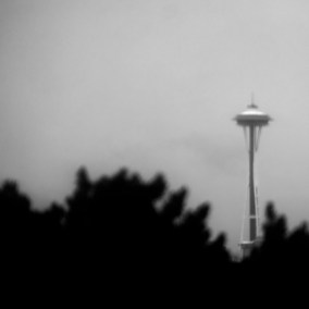 A shot of the Space Needle through the windshield and from behind a tree.